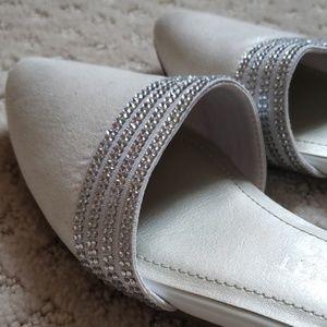 Brand New Anne Klein rhinestone crystal flat ivory